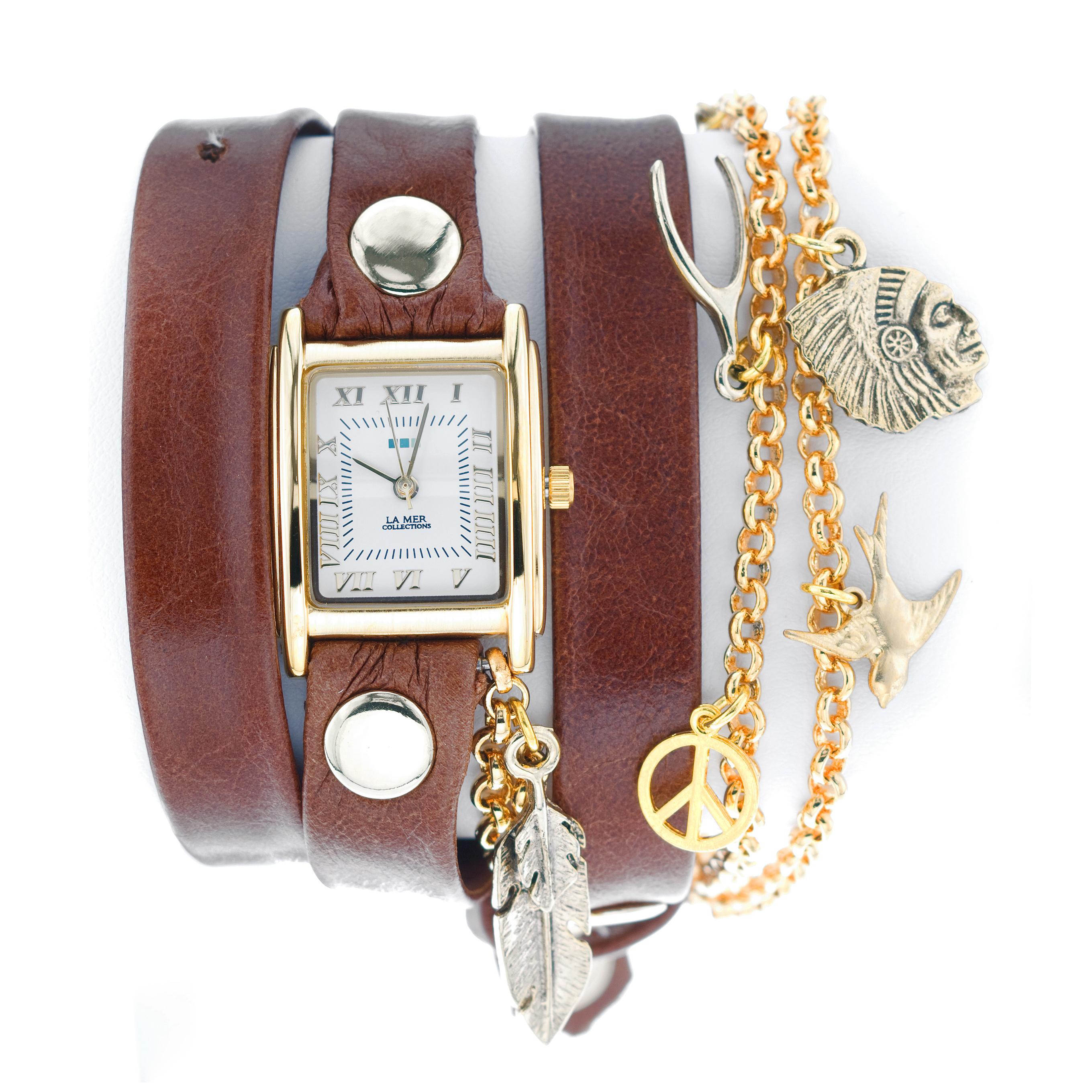 Часы наручные La Mer Collections Charm Peace Pipe Brown