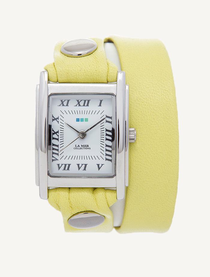 Часы наручные La Mer Collections Simple Double Cammomile<br><br>Цвет: желтый<br>Механизм: кварцевый<br>Материал корпуса: сплав металлов<br>Ремешок: натуральная кожа<br>Форма корпуса: Квадрат<br>Пол: женские