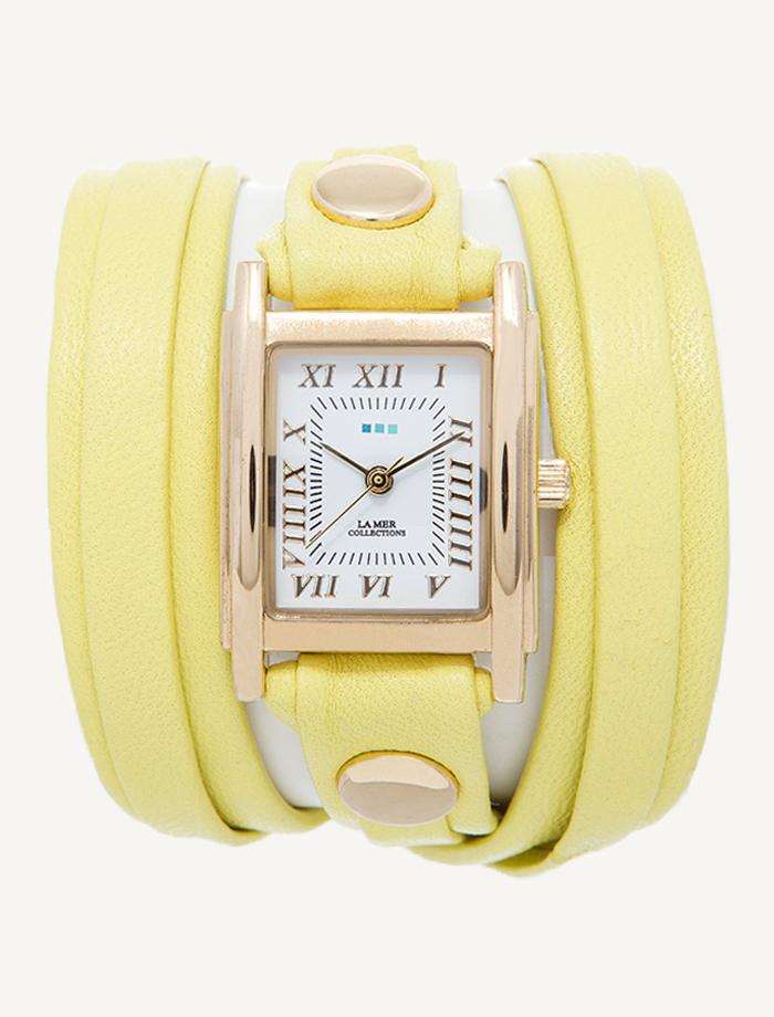 Часы наручные La Mer Collections Layer Lemon Yellow Tone-On-Tone