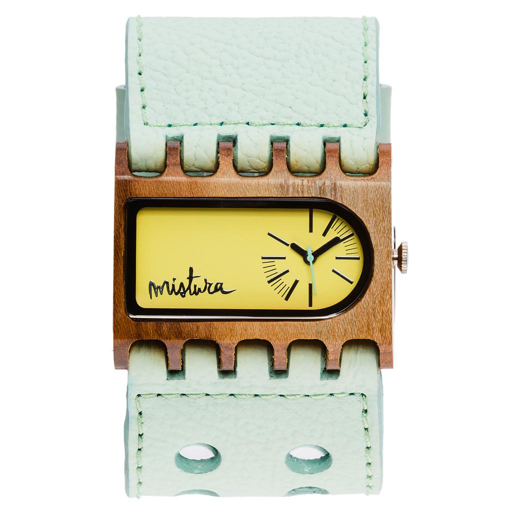 Часы наручные Mistura FERRO Mint Teak Yellow Neon