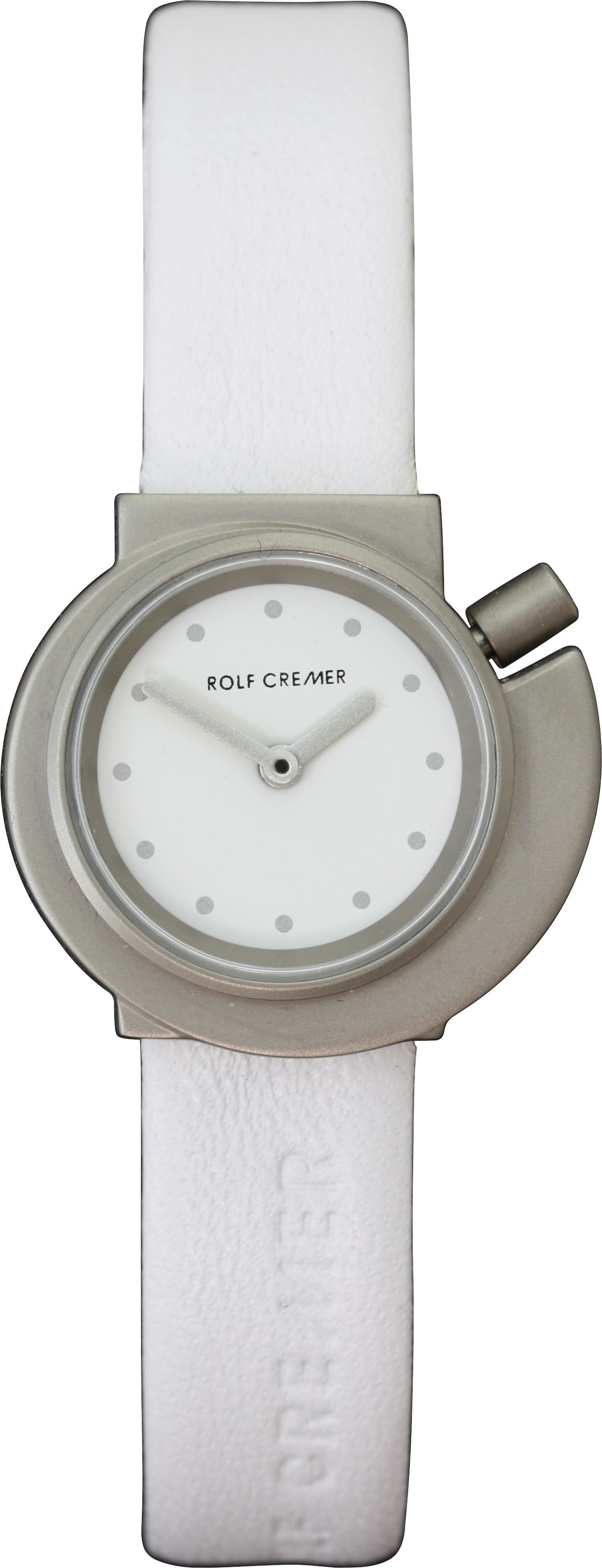Часы наручные Rolf Cremer Spirale 3 White SilverЧасы Rolf Cremer. Производитель: Rolf Cremer, Германия. Механизм: Кварцевый Miyota 2035(Япония).  Корпус: Титан. Размер циферблата: 4,1/4,4/0,8 см. Размер ремешка: 18/1 см. Материал ремешка: Натуральная кожа. Стекло: Минеральное. Водонепроницаемость: 3 АТМ. Избегать контакта с горячей водой и паром. Гарантия 1 год.<br><br>Механизм: кварцевый<br>Форма корпуса: Круг<br>Цвет: белый<br>Ремешок: натуральная кожа<br>Пол: женские