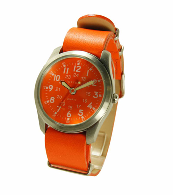 Часы наручные TOKYObay Neon Orange Military LeatherЧасы TOKYObay <br>Производитель: TOKYObay Inc. (США)<br>Механизм: кварцевый MIYOTA (Япония)<br>Корпус: 38/38/9 мм, металл(не содержит никель), задняя крышка из нержавеющей стали.<br>Стекло: ударопрочный оптический пластик <br>Размер ремешка: 22/2 см <br>Материал ремешка: натуральная кожа<br>Гарантия: 1 год<br><br>Механизм: кварцевый<br>Форма корпуса: Круг<br>Пол: женские<br>Цвет: оранжевый<br>Материал корпуса: металл<br>Ремешок: натуральная кожа