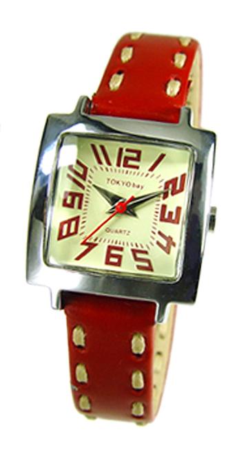 Часы наручные TOKYObay Tramette RedЧасы TOKYObay<br>Производитель: TOKYObay Inc. (США)<br>Механизм: кварцевый MIYOTA (Япония)<br>Корпус: 22/22/8 мм, металл(не содержит никель), задняя крышка из нержавеющей стали.<br>Стекло: ударопрочный оптический пластик <br>Размер ремешка: 17,5/1,1 см <br>Материал ремешка: натуральная кожа<br>Гарантия: 1 год<br><br>Цвет: красный<br>Механизм: кварцевый<br>Форма корпуса: Квадрат<br>Материал корпуса: металл<br>Ремешок: натуральная кожа